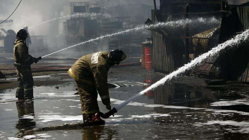 Крупный пожар произошёл на базе отдыха в Приморском крае