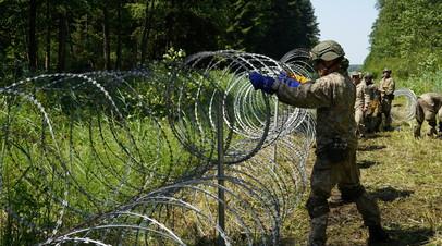 Литовские военнослужащие устанавливают колючую проволоку на границе с Белоруссией