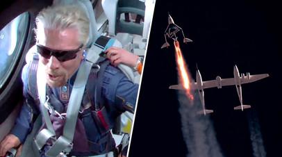 Ричард Брэнсон и космоплан VSS Unity, принадлежащий компании Virgin Galactic