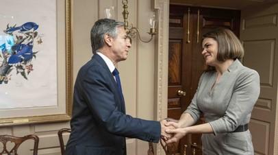 Госсекретарь США Энтони Блинкен и белорусский оппозиционер Светлана Тихановская