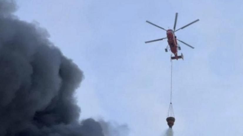 Вертолёты тушат пожар в подмосковных Луховицах