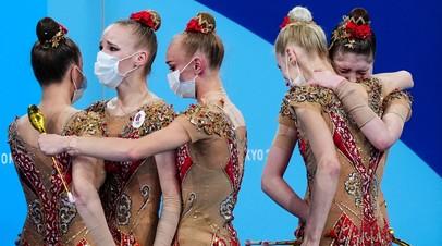 Сборная России по художественной гимнастике после соревнований в командном многоборье на Играх в Токио