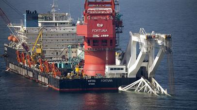 Mногоцелевое судно «Фортуна» проводит трубоукладочные работы в датских водах