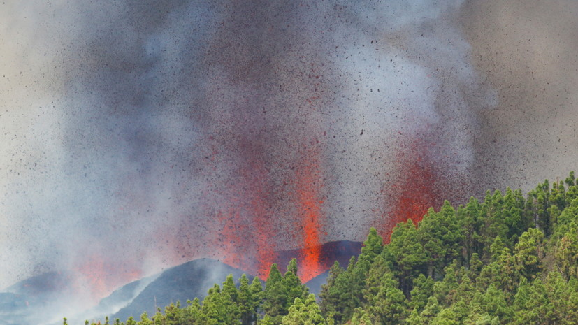В результате извержения вулкана на испанском острове Пальма пострадавших нет