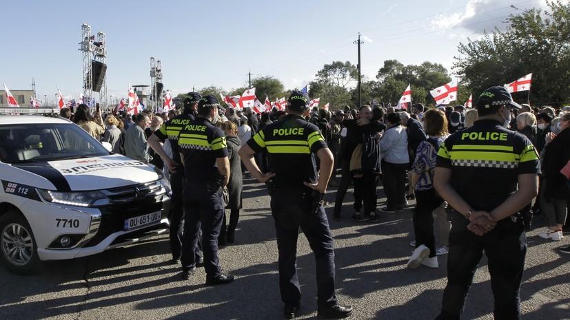 В Тбилиси перекрыто дорожное движение перед митингом сторонников Саакашвили