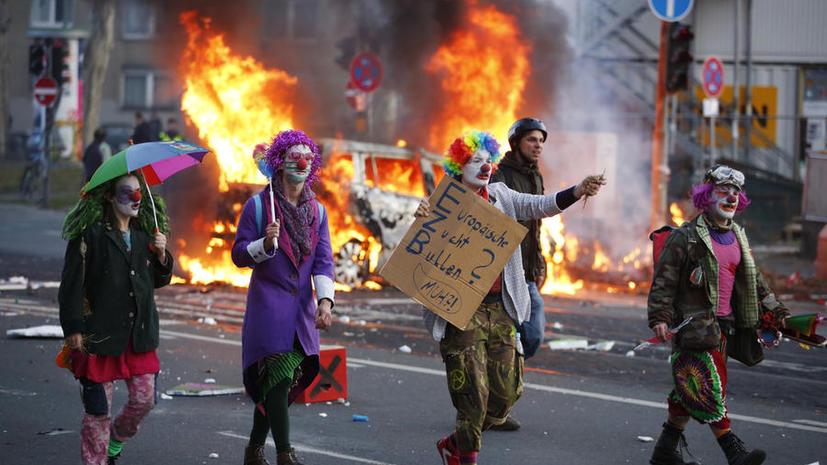 Протесты против политики ЕЦБ во Франкфурте-на-Майне переросли в столкновения с полицией