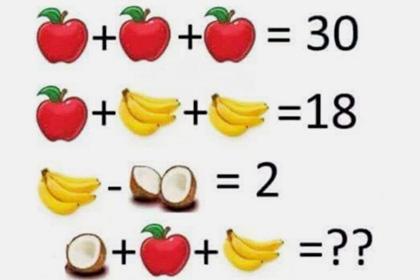 Яблоки, бананы и кокосы: пользователи соцсетей не могут решить детскую задачу