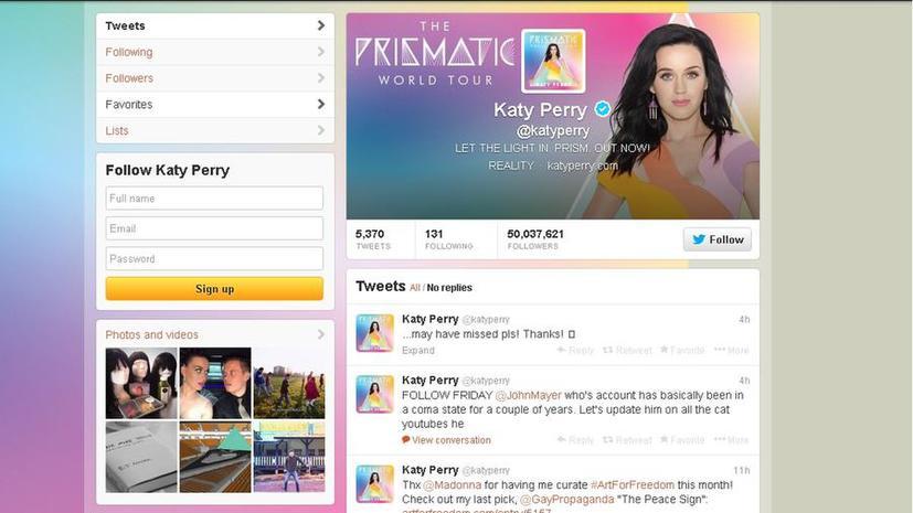 Королева Twitter: число подписчиков певицы Кэти Перри составило 50 млн