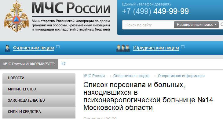 МЧС опубликовало список персонала и больных, находившихся в психоневрологической больнице №14