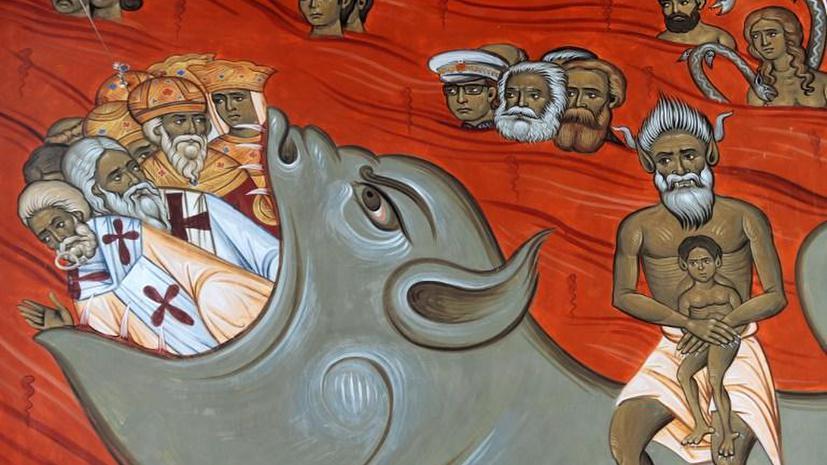 Коммунистический ад: в Черногории появилась фреска, на которой Маркс, Энгельс и Броз Тито горят в огне