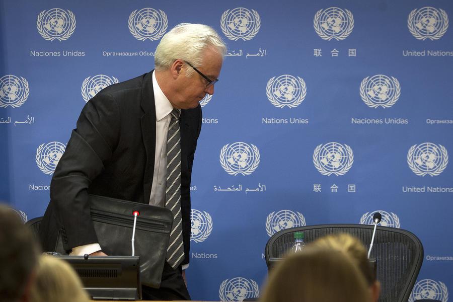 Глава делегации РФ Виталий Чуркин покинул зал ООН во время выступления Петра Порошенко