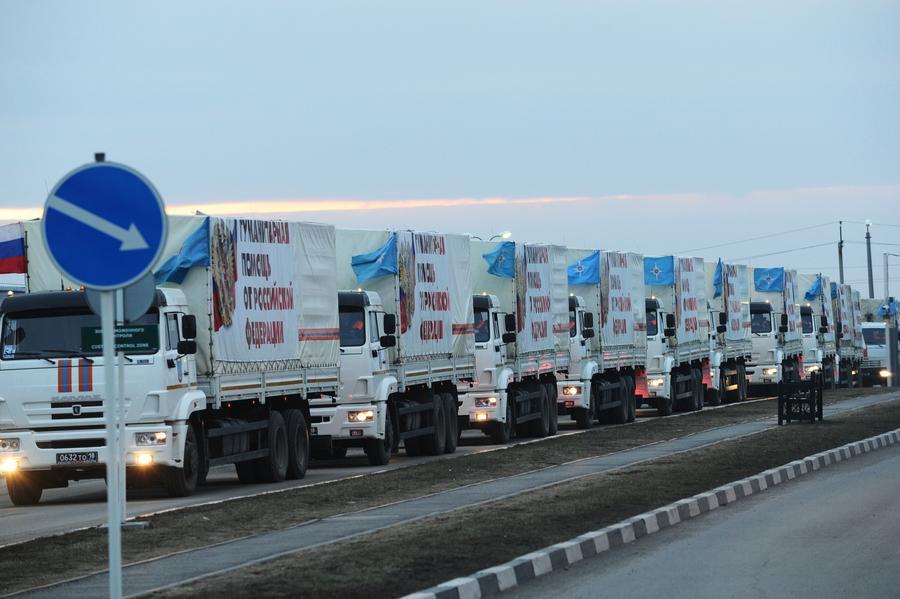Очередная колонна МЧС доставила гумпомощь в Донбасс