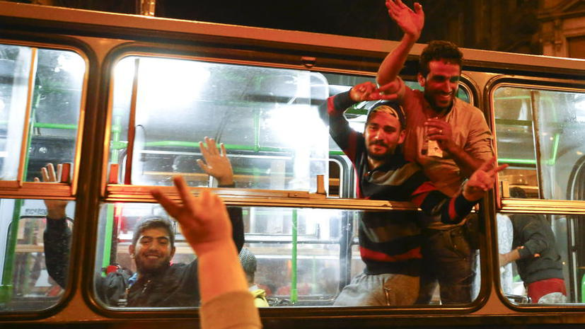Прибытие беженцев в Вену 5 сентября 2015 года