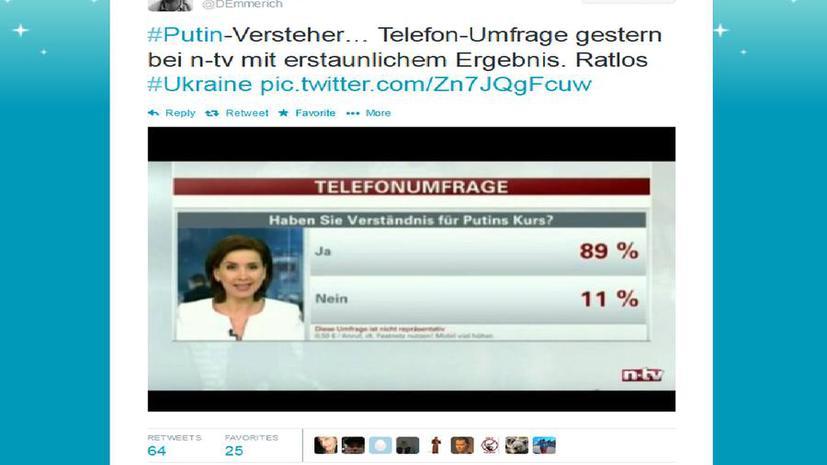 Опрос немецкого ТВ: 89% зрителей поддерживают курс Владимира Путина