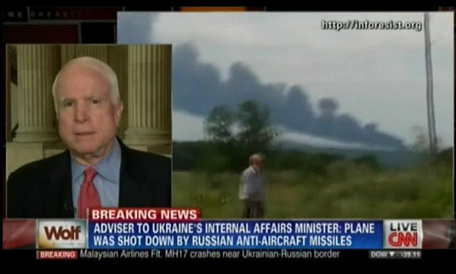 Сенатор Маккейн нашёл следы КГБ в крушении самолёта Boeing 777 Malaysian Airlines под Донецком
