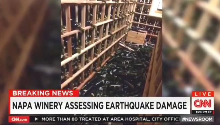 Землетрясение в Калифорнии: телеканал CNN впечатлён разлитым вином, а не разрушениями в штате