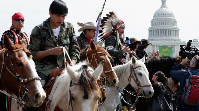 Индейские вигвамы у Капитолия: коренное население Америки протестует против прокладки нефтепровода