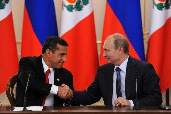 Лидеры РФ и Перу Владимир Путин и Ольянта Умала договорились об активном сотрудничестве