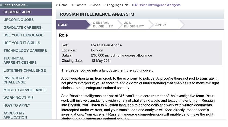 Британская спецслужба объявила вакансию аналитика перехваченных звонков и писем на русском