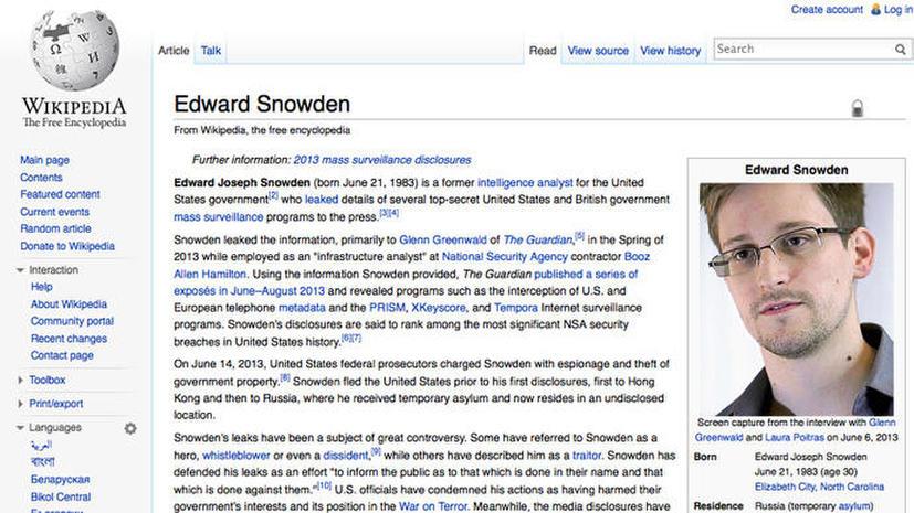 Сенатор США исправил страницу «Википедии» про Сноудена