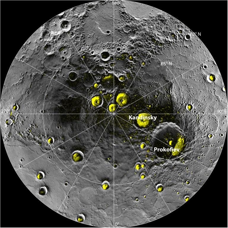 Станция Messenger обнаружила огромные залежи льда на Меркурии