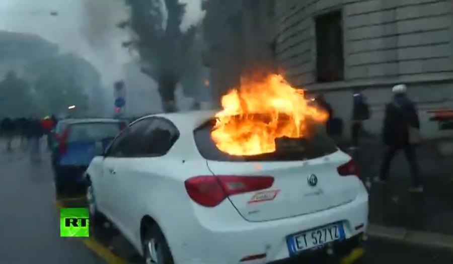 Беспорядки в центре Милана 1 мая во время акции противников EXPO
