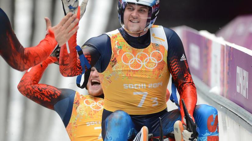 Российские саночники выиграли серебряные олимпийские медали в смешанной эстафете