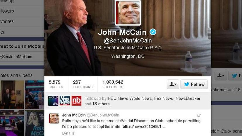 Сенатор Джон Маккейн: я был бы рад принять приглашение Путина посетить «Валдай», но график не позволяет