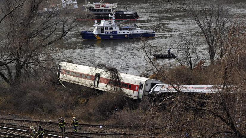 Поезд, потерпевший крушение в Нью-Йорке, превысил скорость на повороте больше чем вдвое