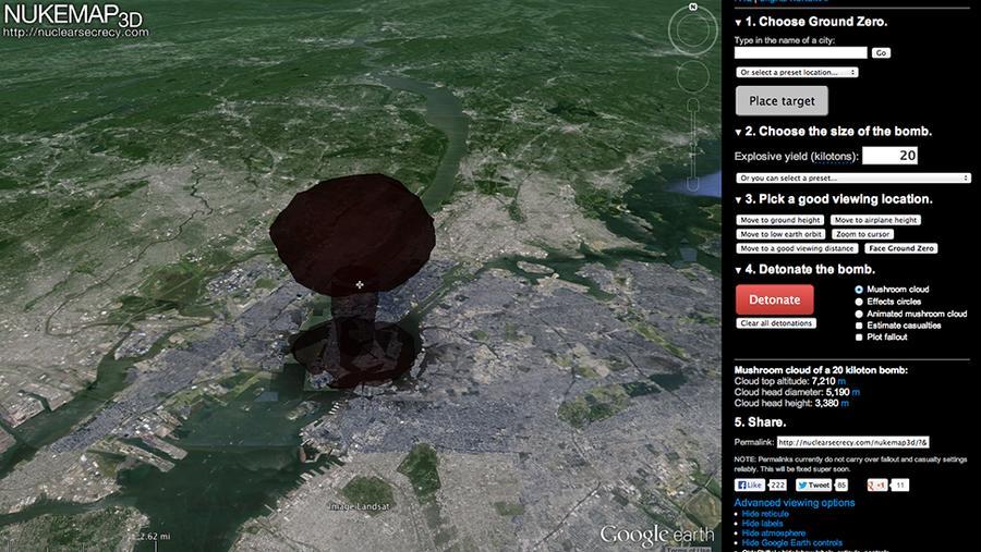 Новый сервис Google Earth покажет в 3D, что случится при атомном взрыве