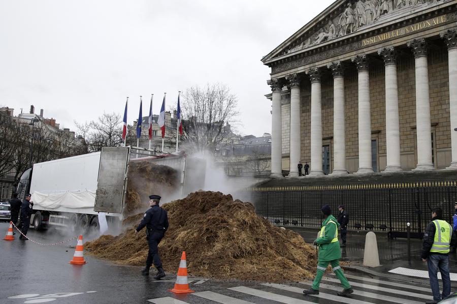 Перед зданием Национального собрания Франции выгрузили фуру навоза