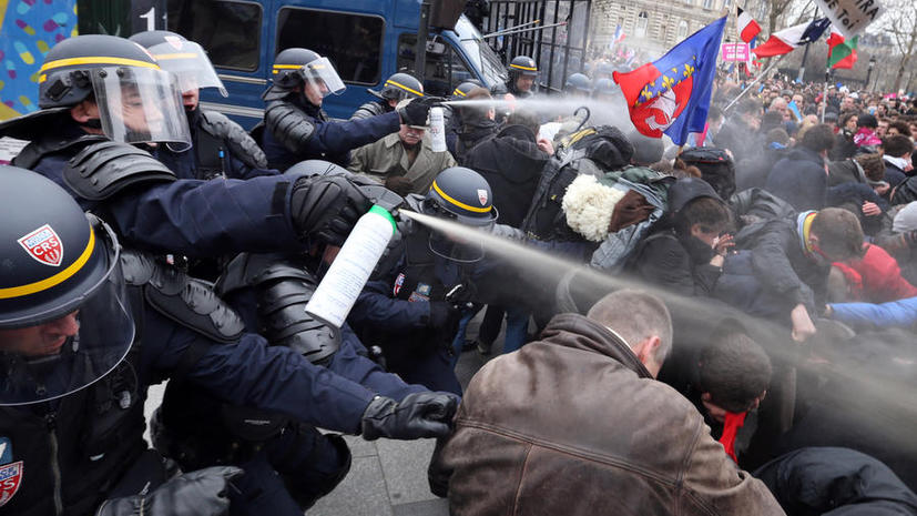 Протестующих против закона об однополых браках в Париже разогнали слезоточивым газом