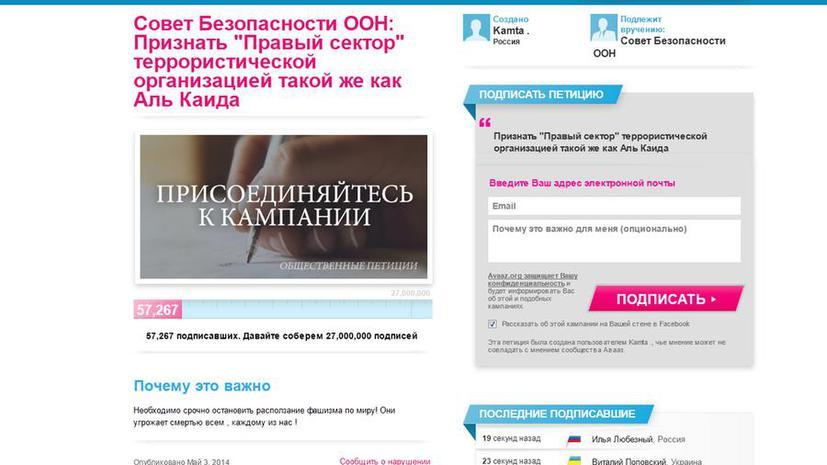 Почти 60 тыс. человек через интернет попросили ООН признать «Правый сектор» террористической организацией