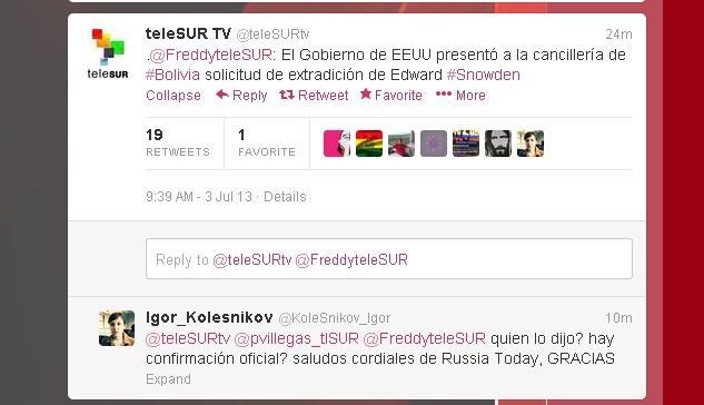 Канал TeleSUR: Правительство США отправило официальный запрос в МИД Боливии с требованием выдать Сноудена
