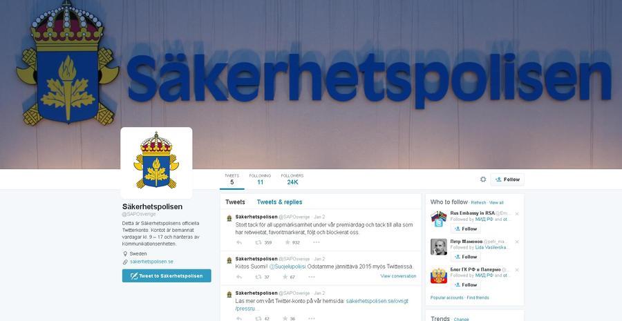 Спецслужба Швеции через Twitter напомнила жителям страны, что следит за ними