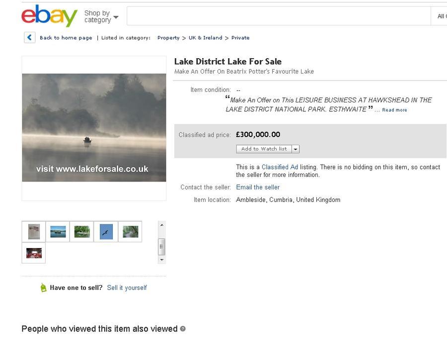 На интернет-аукционе eBay впервые выставили на продажу озеро
