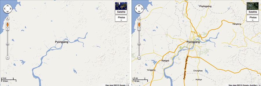 На Google Maps появилась детальная карта Северной Кореи
