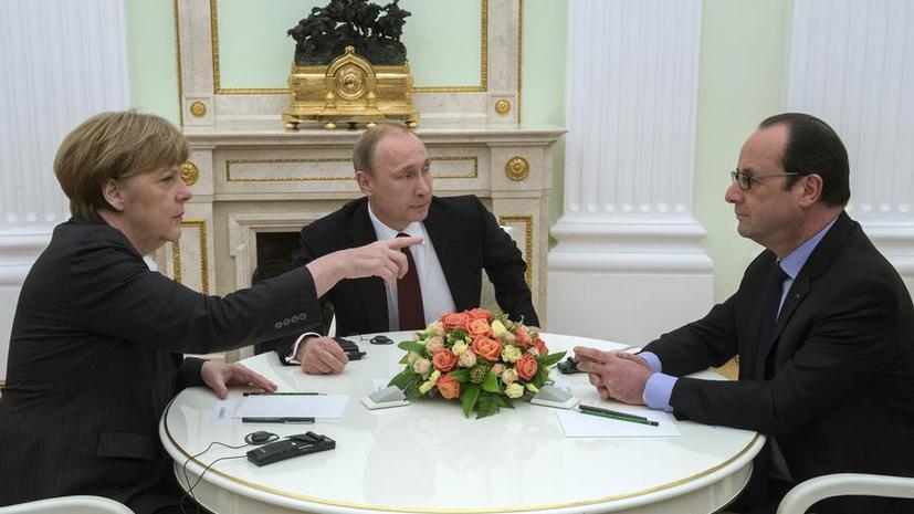 Владимир Путин, Ангела Меркель и Франсуа Олланд призвали с 1 сентября прекратить огонь на Украине