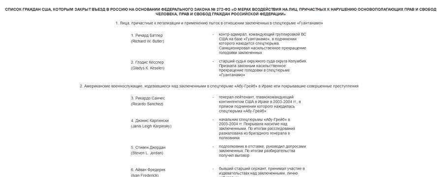 МИД РФ опубликовал список из 12 граждан США, которым закрыт въезд в Россию