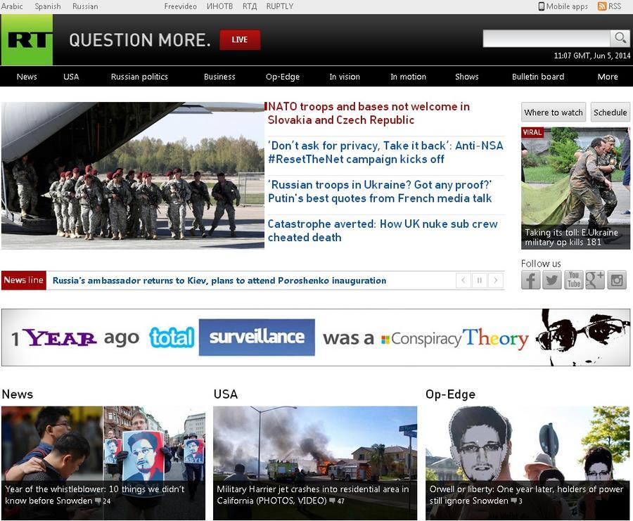 RT.com признан лучшим новостным сайтом по версии Interactive Media Council