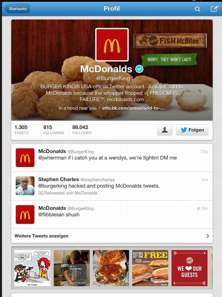 Пока Burger King судится за доменные имена в России, его твиттер-аккаунт взломали