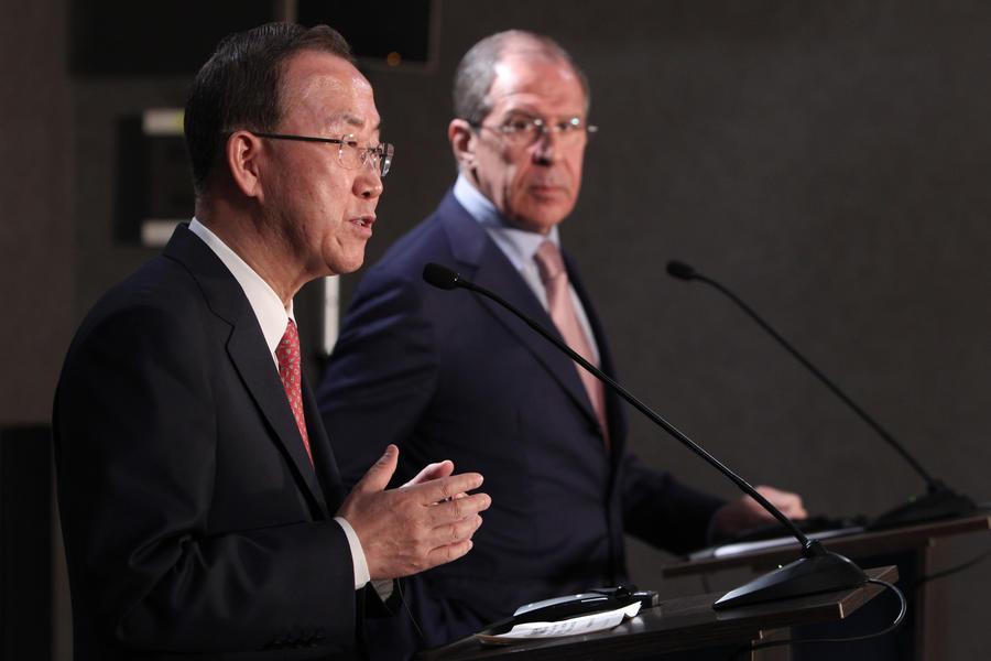Сергей Лавров и Пан Ги Мун призвали ускорить подготовку конференции по Сирии