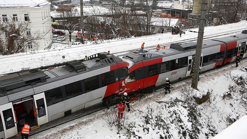 На западе Вены столкнулись две электрички: несколько человек получили серьезные травмы
