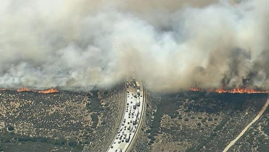 В Калифорнии огромный лесной пожар перекрыл дороги и перекинулся на автомобили
